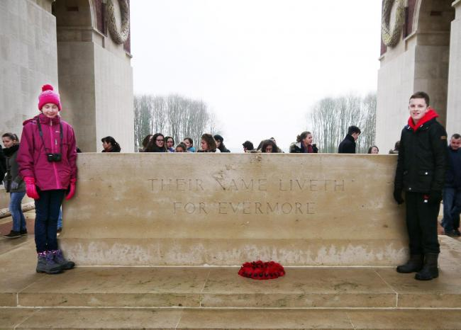 OVERWHELMING: Ryan Lewis and Rosie Ashworth during their visit to the World War one cemeteries and memorials