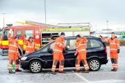 CLEAN: Firefighters took part in a carwash in aid of Luke Mason