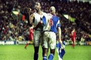 Nathan Blake celebrates his winner at Anfield 15 years ago
