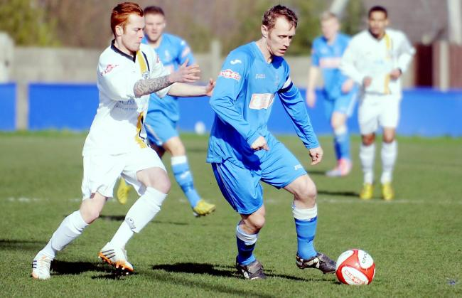 EYES DOWN: Padiham striker Brett Ormerod failed to score against New Mills