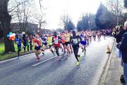 HIGH FLYER: Ben Fish, far right, keeps pace with the leading pack in the Wilmslow Half Marathon