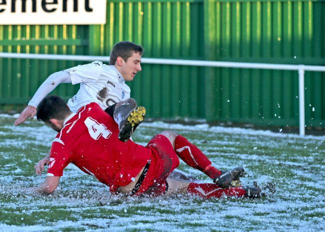 BRAGGING RIGHTS: Colne beat Nelson 2--0 in December's Pendle Clasico at their XLCR Stadium home