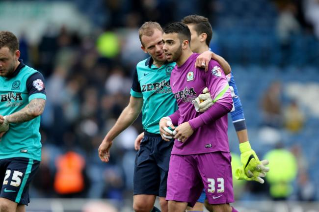 David Raya is congratulated by Jordan Rhodes after his debut on Saturday