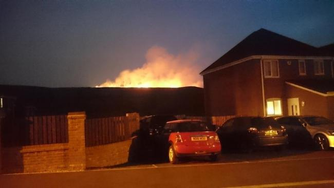 Firefighters tackle second large moorland fire in less than 12 hours // Picture: @gunner_gibson on Twitter