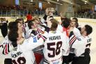 EYES ON THE PRIZE: Hawks players lift the play-off trophy aloft after beating Billingham Stars 6-3	Pictures by: KIPAX