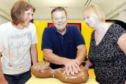 CARING: Anne Bulman and Lesley Eaton of Rawtenstall with Ted Robbins