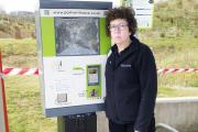 WRECKED: Karen Williams Brockholes business and support manager with one of the damaged machines