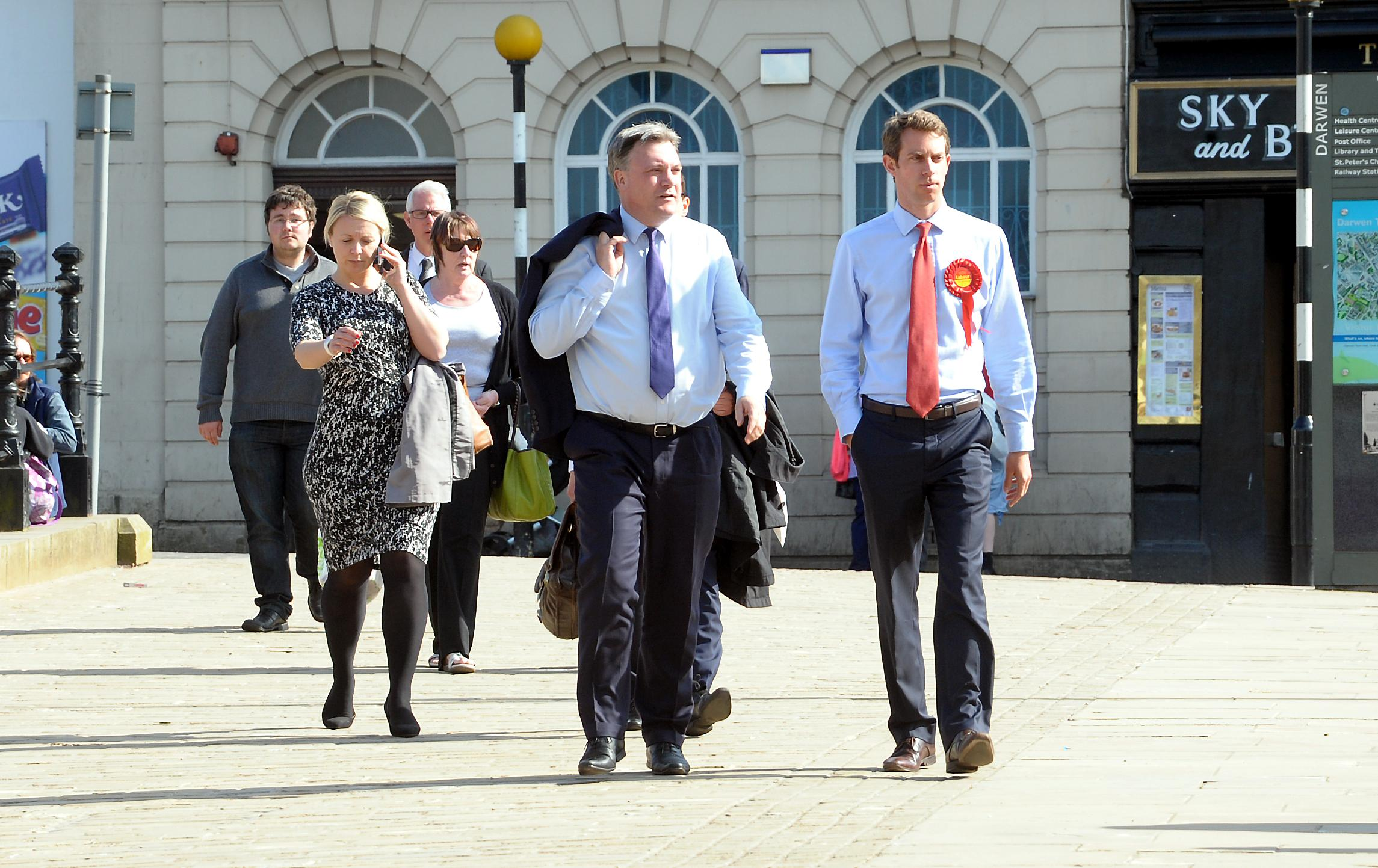 WALKABOUT: Ed Balls, Labour Shadow Chancellor, visits Darwen market with Will Straw