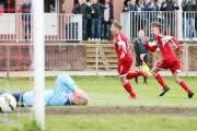 LATE DRAMA: AFC Darwen's Ryan Steele seals his hat-trick in the final minute of the 3-2 weekend win over Eccleshall