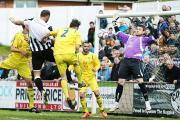 SO CLOSE: Chorley go within inches of a third goal against Guiseley on Saturday 		Pictures: KIPAX