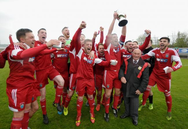 Darwen celebrate after beating Hanley Town in the North West Counties First Division play-off final