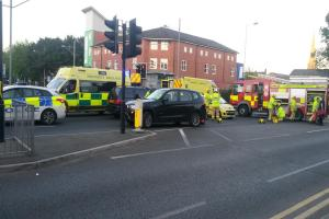 Man and woman injured after two-car smash in Blackburn
