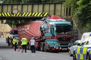 LATEST: Road reopens after lorry smashes into Blackburn railway bridge