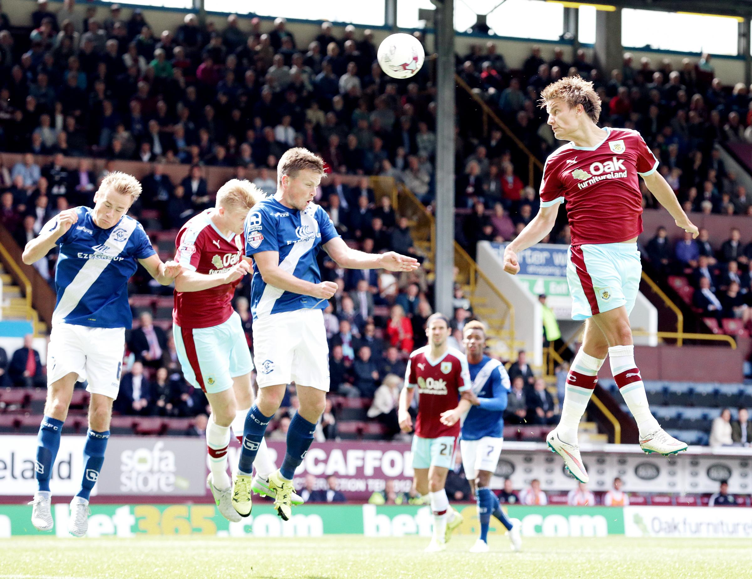 ATTACK: Burnley's Jelle Vossen heads towards goal from a free-kick