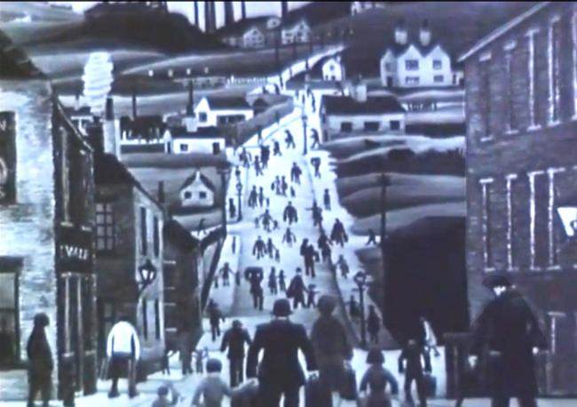 EVOCATIVE: Bill Brooke's portrayal of Grimshaw Street, with its bustling matchstick figures reminiscent of Lowry's
