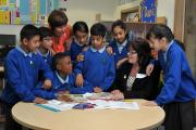 LESSONS: MP Kate Hollern chats with Debbie Mercer and Wensley Fold Primary debating society members