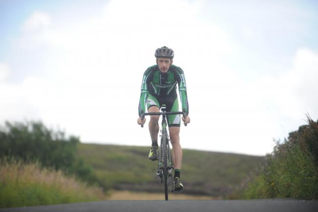 RIDING TO VICTORY: Hope Factory Racing's Paul Oldham took first place in the Three Peaks Cyclo-cross race in Yorkshire