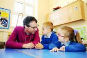 GUEST: The Rt Rev Philip North, Bishop of Burnley, visits St Paul's CE Primary School, Oswaldtwistle, to officially open four newly renovated classrooms and meets Shaun Thomas Smith, four, and Sienna Hitchen-Martin, four