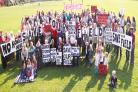 DON'T BUILD HERE: Residents at a protest last month at Lyndon Playing Fields in Great Harwood