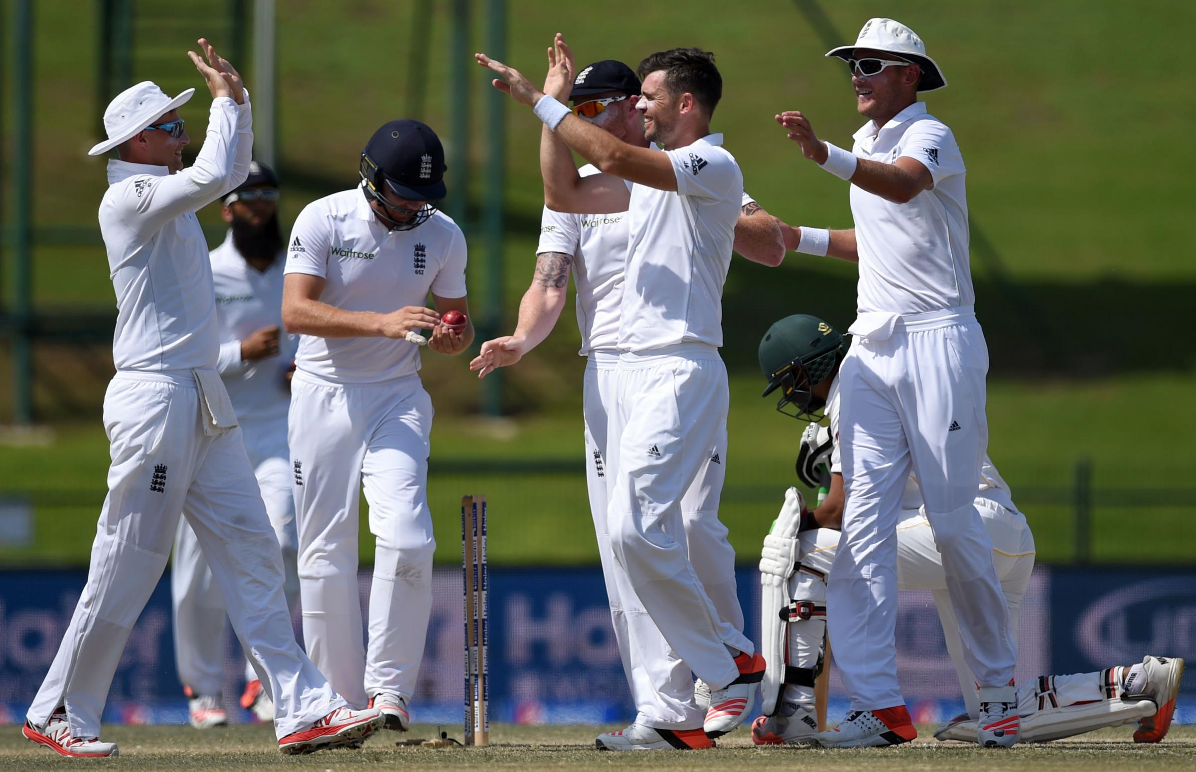 MAIN MAN: James Anderson, centre, celebrates with his England team-mates after taking a wicket