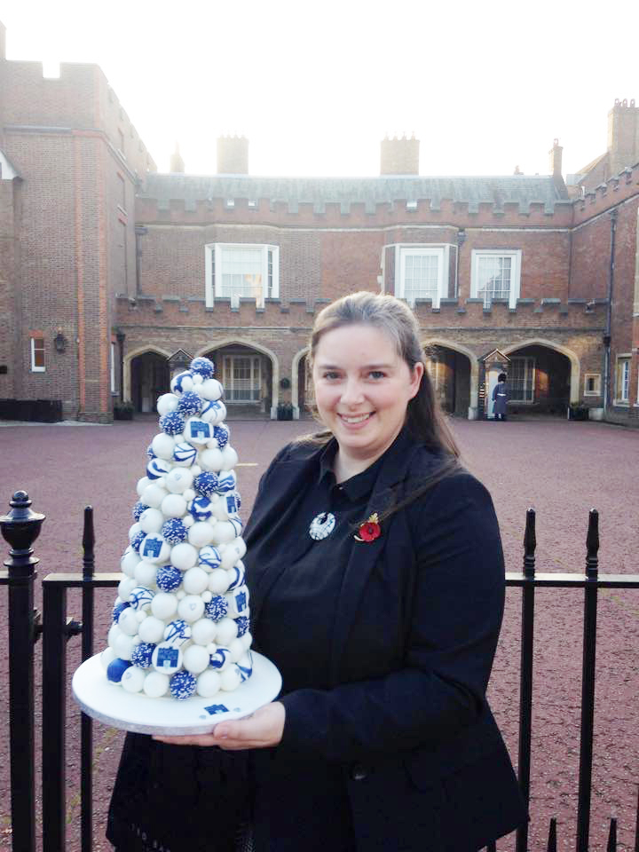 CAKES: Amy Gilmore outside St James' Palace