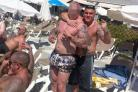 HOLIDAY: Drink driver Jon Morton, right, on his five-day bachelor party abroad