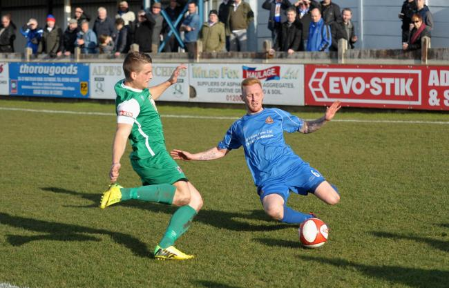 CONSISTENT: Clitheroe's Simon Garner, in blue, wants his team to reach the standards they set in Northwich win