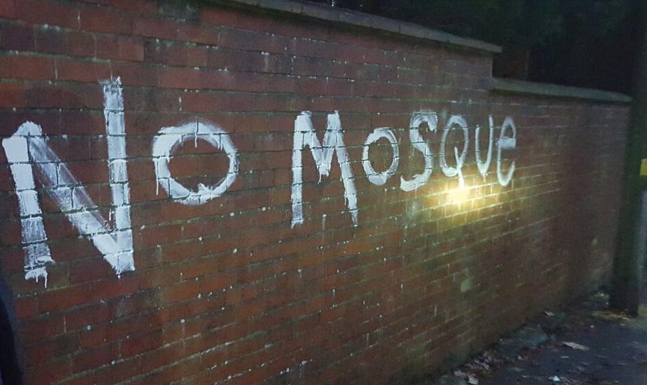 NO MOSQUE: Vandalism at the school