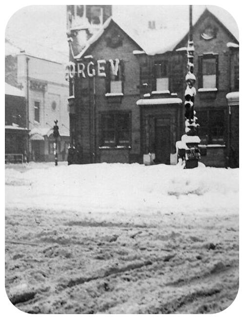 BURIED: The George V in Bacup in deep snow of 1941