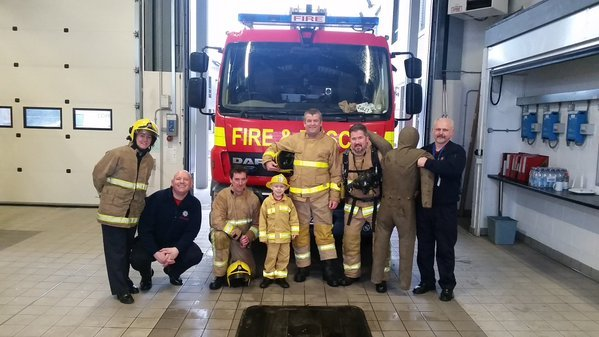 Fire officer Theo Power reports for duty