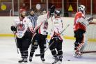 TIME TO UP IT: Blackburn Hawks players celebrate another goal in the 10-0 win over Billingham Stars last Saturday