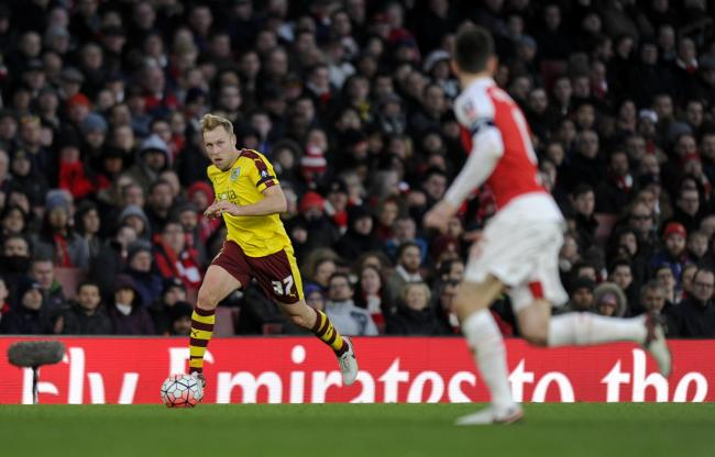 BIG STAGE: Scott Arfield in action for Burnley at the Emirates Stadium during last week's FA Cup defeat to Arsenal