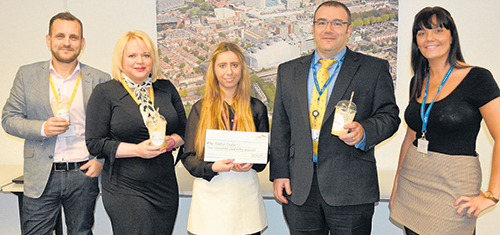 Winning way – Sophie Taylor, third from left, with her £250 cheque which she will invest in her coffee drinks business, with South Essex College dragons Damian Walters, Claire Anderson, Anthony McGarel and Katherine Ashdown