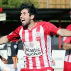 Lancashire Telegraph: Piero Mingoia of Accrington Stanley scores the third goal of the game 3-0 to Accrington Stanley and celebrates in front of the home fans.during the  skybet league 2 Football match between Accrington Stanley and Exeter City FC  at the WHAM Stadium, Accring