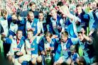 Rovers celebrate winning the Premiership title at Anfield in May 1995
