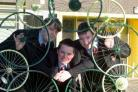 COLIN HORNE  10.02.16  Students at Darwen Vale High School created bycycle inspired sculptures with help from local 'Cycle Roots' based on Philip's Rd in Blackburn with the images to be sited around the school grounds. (55604300)