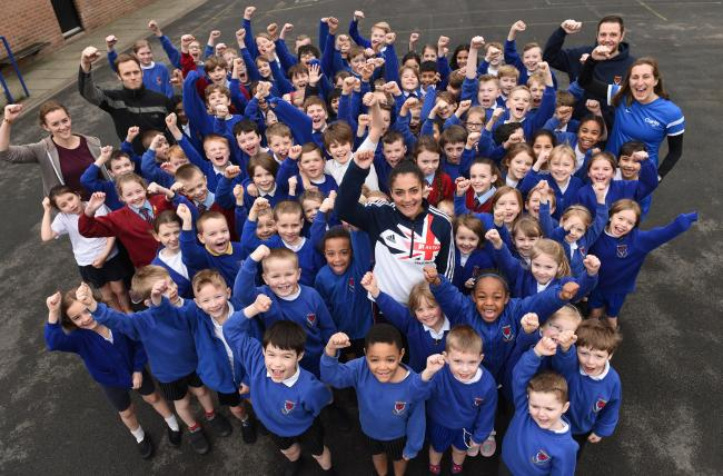 Team GB Athlete Leah Barrow joins Pupils from Buckshaw Primary School, and Pupils from St Joseph's Primary School Anderton at the launch the Run a Mile Pilot Scheme.