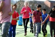 ACTIVE: Year six pupils from St Michael with St John RC Primary School, Blackburn, on their Sport Relief run
