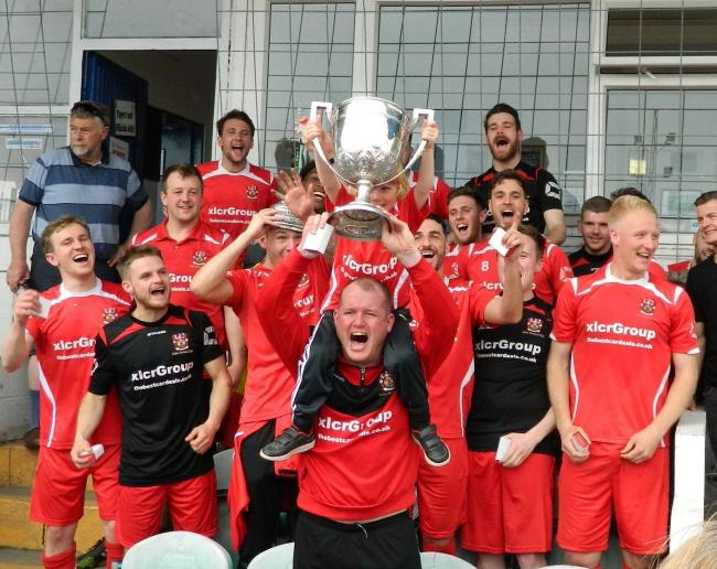 Colne celebrate their North West Counties League Premier Division title