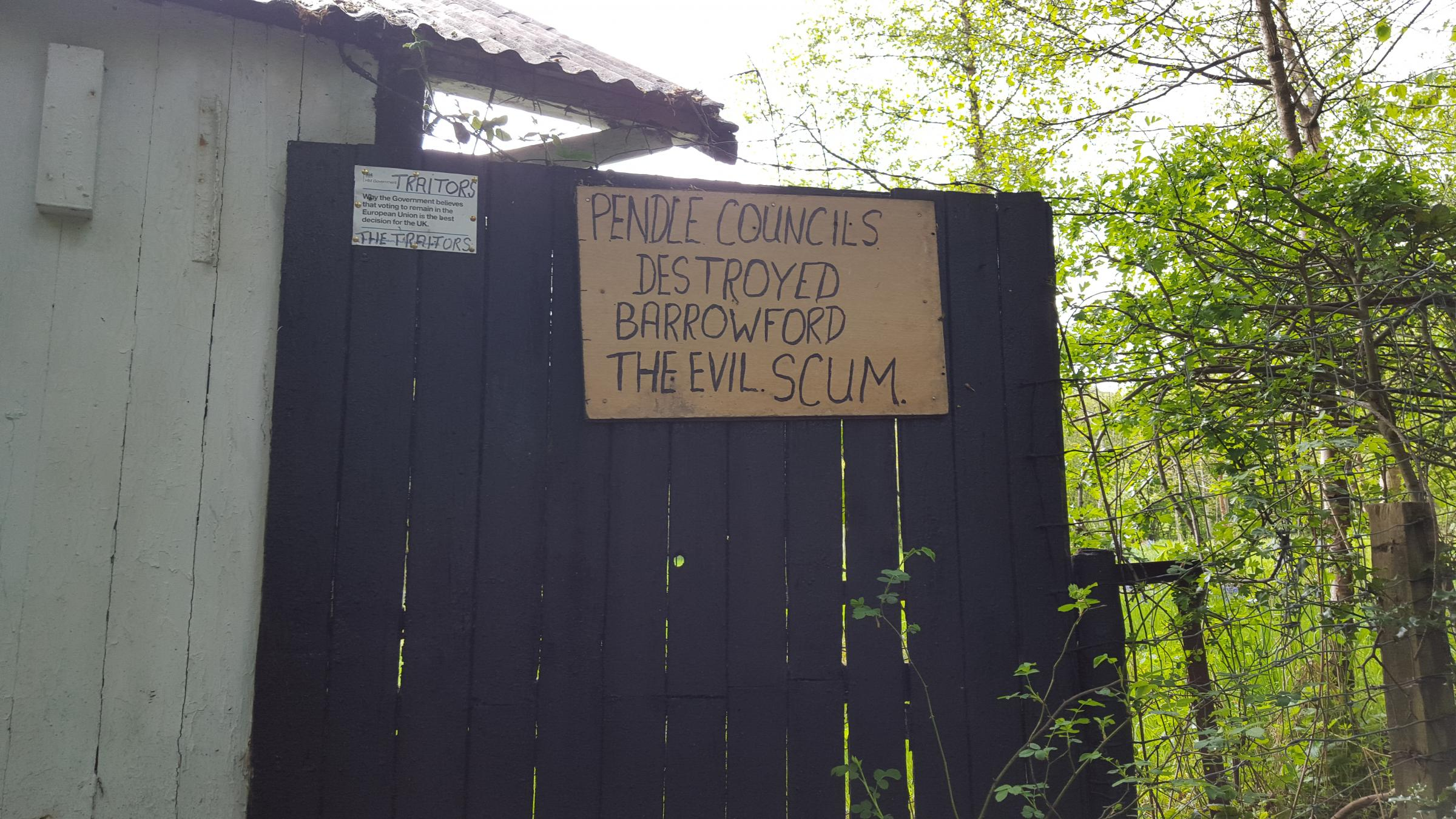 MESSAGE: One of the signs at Mr Kegg's cottage