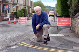WOE: Simon Huggill with the vanishing yellow lines which where painted and then ripped up