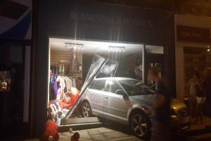 An Audi crashed in to Rossendale Hospice Charity Shop in Bank Street Rawnesall. Video and photograph by Andrew Thomas of I Love Rossendale