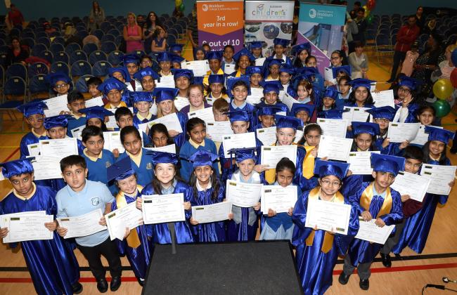 ACCOLADE: Some of the youngsters from seven Blackburn primary schools