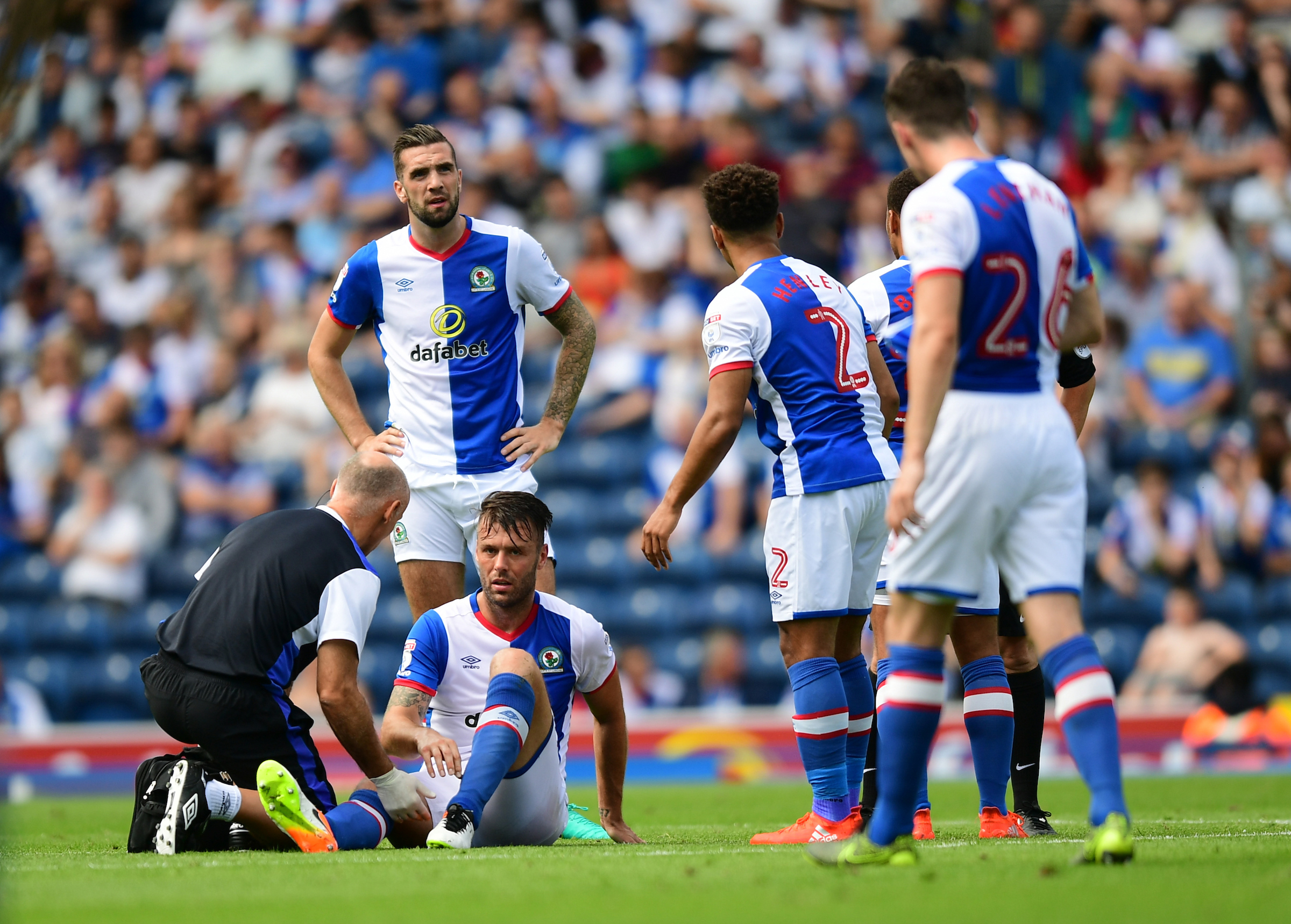 Elliott Ward goes down with the injury which would force him off. Pictures: Chris Vaughan/CameraSport