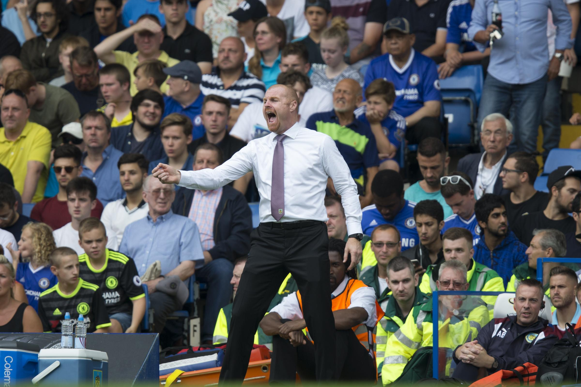 ENCOURAGEMENT: Dyche urges his side on at Stamford Bridge