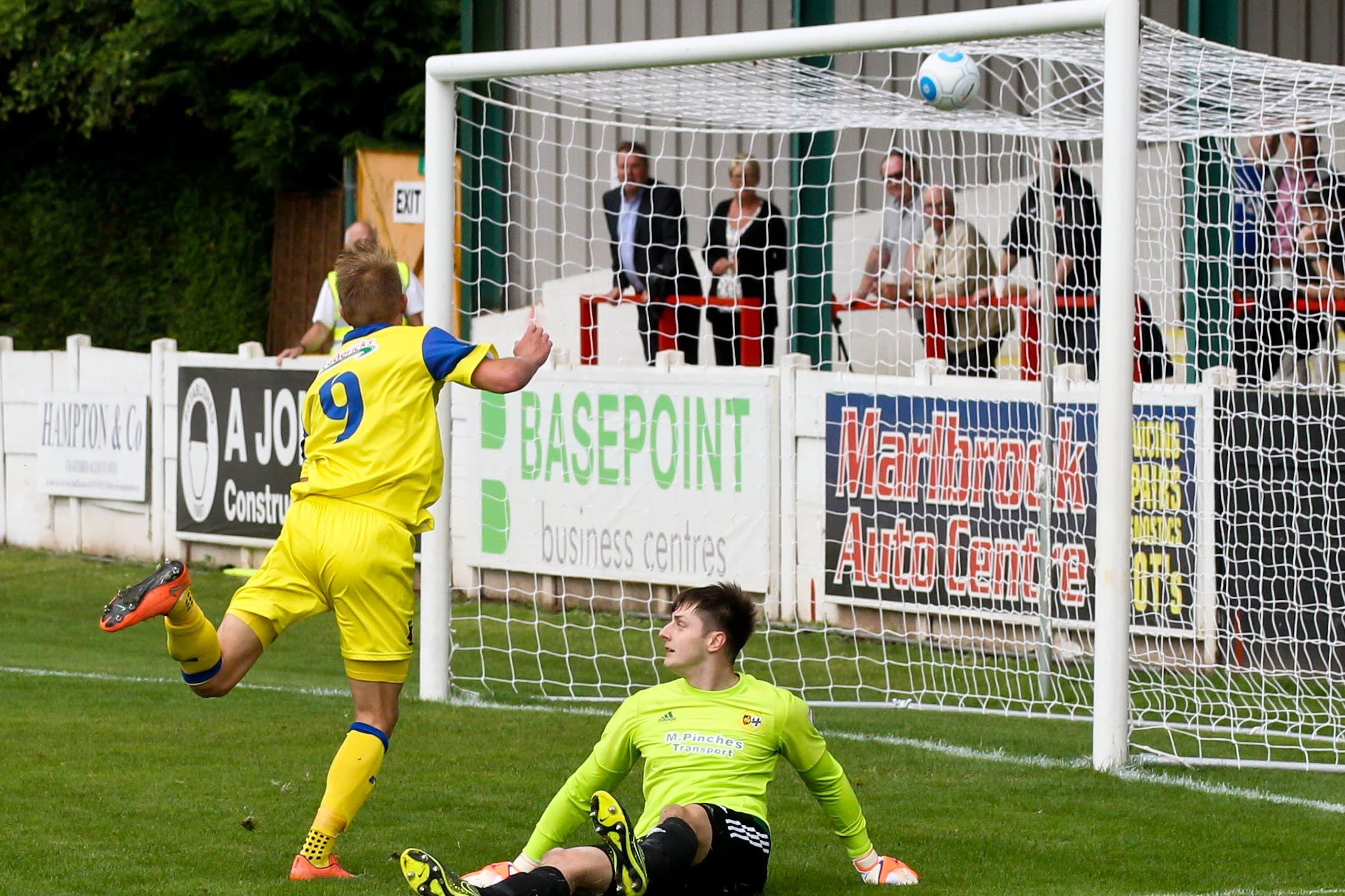 Marcus Carver scores for Chorley against Worcester City. Pic by Rachel Kershaw