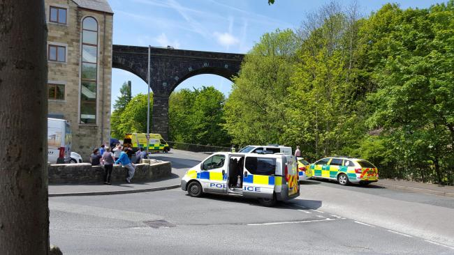 CALLOUT: Police and ambulance crews near the viaduct in Colne