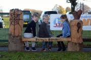 WINNERS: William Earnshaw, Tom Mayoh and Darcey Devitt all contributed to bench design