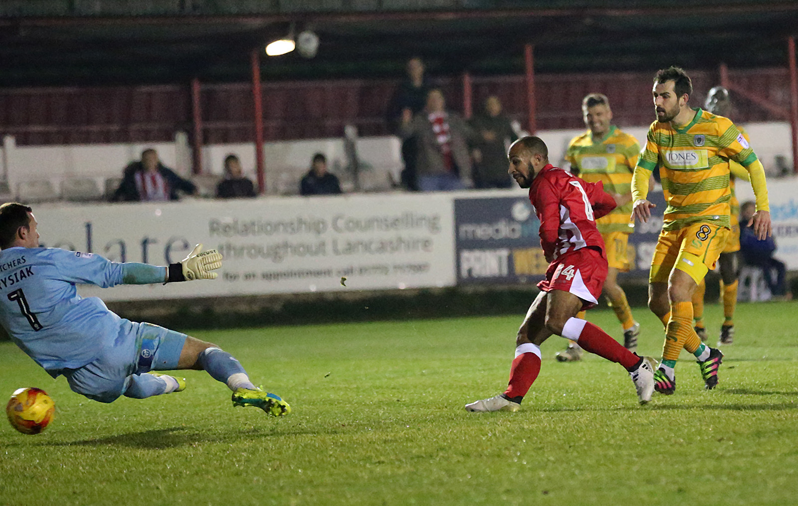 GET IN: Rommy Boco tucks away a late equaliser for Stanley against Yeovil Town Pictures: KIPAX