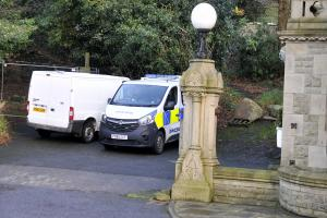 SQUATTERS: A police presence at the former Horncliffe Mansion Hotel, Rawtenstall, on Saturday